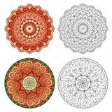 Reeks abstracte ontwerpelementen Ronde mandalas in vector Stock Afbeelding