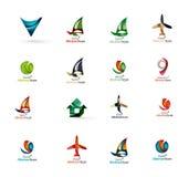 Reeks abstracte pictogrammen van het reisembleem Zaken, app Stock Foto's