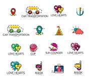 Reeks abstracte pictogrammen van het reisembleem Zaken, app Royalty-vrije Stock Foto