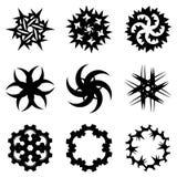 Reeks abstracte spiraalvormige tekens, ninjasterren Royalty-vrije Stock Afbeelding