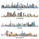 Reeks abstracte stedelijke de stadsillustraties van Verenigde Staten Stock Foto