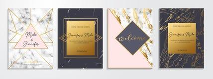 Reeks abstracte uitnodigingen en groetkaarten voor huwelijk, enga vector illustratie