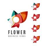 Reeks abstracte van het bedrijfs bloemembleem pictogrammen Stock Fotografie