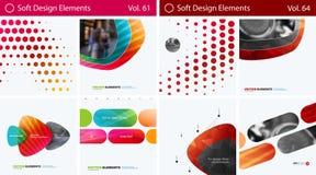 Reeks Abstracte vectorontwerpelementen voor grafische lay-out Modern bedrijfsmalplaatje als achtergrond Stock Fotografie