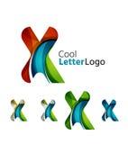 Reeks abstracte X-emblemen van het brievenbedrijf Zaken Stock Afbeeldingen