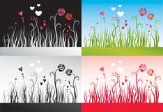 Reeks achtergronden met gras, bloemen en harten Stock Afbeeldingen