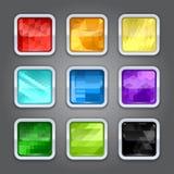 Reeks achtergronden met metaalgrens voor app stock illustratie