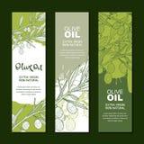 Reeks achtergronden voor etiket, pakket Illustratie van olijftak Landbouw, olijfolie en schoonheidsmiddelenpakket royalty-vrije illustratie