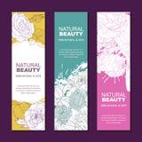 Reeks achtergronden voor etiket of pakket Schetshand getrokken illustratie van roze bloemen op waterverfachtergrond vector illustratie
