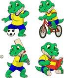 Reeks acties met een krokodilpeuter vector illustratie