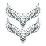 Reeks adelaars Kaal adelaarsembleem Het wilde vogels trekken Hoofd van een adelaar royalty-vrije illustratie
