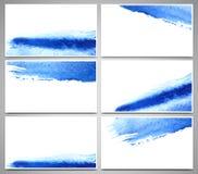 Reeks adreskaartjes en ontwerpmalplaatjes met waterverfplonsen worden geschilderd, hand getrokken illustratie die Stock Afbeelding