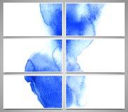Reeks adreskaartjes en ontwerpmalplaatjes met waterverfplonsen worden geschilderd, hand getrokken illustratie die Royalty-vrije Stock Foto