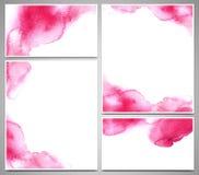 Reeks adreskaartjes en ontwerpmalplaatjes met waterverfplonsen worden geschilderd, hand getrokken illustratie die Stock Afbeeldingen