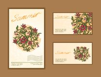 Reeks adreskaartjes met bloemenontwerp Stock Fotografie