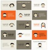 Reeks adreskaartjes met gezichten voor uw ontwerp Royalty-vrije Stock Foto's