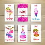 Reeks adreskaartjes met snoepjes of desserts Royalty-vrije Stock Fotografie