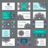 Reeks adreskaartjes Uitstekend patroon in retro stijl met mandala Hand getrokken Islam, Arabisch, Indiër, kantpatroon Stock Afbeeldingen