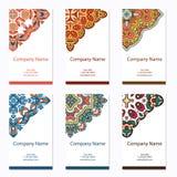 Reeks adreskaartjes Uitstekend patroon in retro stijl met mandala Hand getrokken Islam, Arabisch, Indiër, kantpatroon Stock Afbeelding