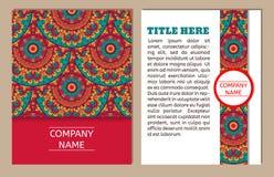 Reeks adreskaartjes Uitstekend patroon in retro stijl met mandala Hand getrokken Islam, Arabisch, Indiër, ottomanepatroon Royalty-vrije Stock Afbeelding