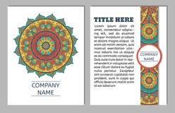 Reeks adreskaartjes Uitstekend patroon in retro stijl met mandala Hand getrokken Islam, Arabisch, Indiër, ottomanepatroon Stock Foto's