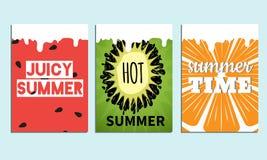 Reeks affiches van de colorfullzomer met ftuits backround Vectorillustratie met typografie Royalty-vrije Stock Fotografie