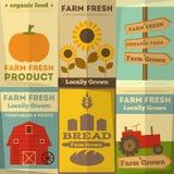Reeks Affiches voor Organisch Landbouwbedrijfvoedsel Stock Foto's