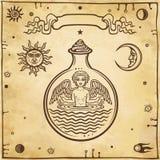 Reeks alchemistische symbolen Kind in een reageerbuis, het homunculus, chemische reactie royalty-vrije illustratie