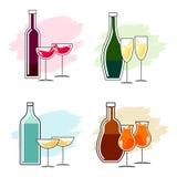 Reeks alcoholische dranken en glazen Royalty-vrije Stock Fotografie