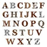 Reeks alfabetbrieven met dierlijke bontpatronen Stock Afbeeldingen