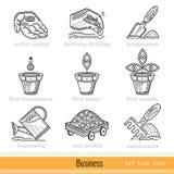 Reeks Alle Stappen van de Pictogrammen van het Bedrijfsoverzichtsweb Royalty-vrije Stock Afbeeldingen