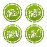 Reeks allergeen vrije kentekens Vrije lactose, vrij Gluten, vrije Suiker, vrije Noot Vectorhand getrokken tekens Kan voor verpakk Royalty-vrije Stock Foto