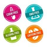 Reeks allergeen vrije kentekens Vrij graan, vrij GMO, vrije Alcohol, vrije Cafeïne Vectorhand getrokken tekens Kan voor verpakkin vector illustratie