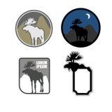 Reeks Amerikaanse elanden van het pictogrammenembleem Embleem voor jagers of voor natuurreservaat stock illustratie