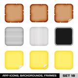 Reeks App Pictogramkaders, Malplaatjes, Achtergronden. Reeks 18 Royalty-vrije Stock Foto