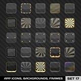 Reeks App Pictogramkaders, Malplaatjes, Achtergronden. Reeks 17 Royalty-vrije Stock Afbeelding