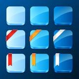 Reeks app pictogrammen met linten en banners vector illustratie