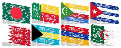 Reeks artistieke vlaggen van de geïsoleerde wereld Stock Afbeeldingen
