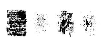 Reeks artistieke zwarte grungeachtergronden Vector textuur Vuil artistiek ontwerpelement De borstelslag, ploetert vector illustratie