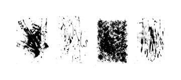 Reeks artistieke zwarte grungeachtergronden Vector textuur Vuil artistiek ontwerpelement De borstelslag, ploetert royalty-vrije illustratie