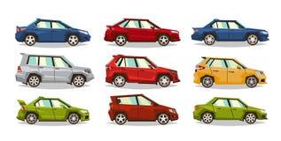 Reeks auto's Inzamelingsvoertuig Sedan, vijfdeursauto, open tweepersoonsauto, SUV Het beeld van stuk speelgoed machines Geïsoleer stock illustratie