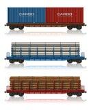 Reeks auto's van de vrachtspoorweg Royalty-vrije Stock Afbeeldingen