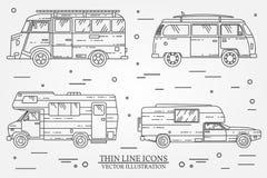 Reeks auto's voor het kamperen Auto en kampeerautoreeks Het concept van de de familiereis van de de zomerreis Royalty-vrije Stock Fotografie