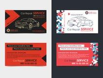 Reeks Automobiel de lay-outmalplaatjes van de Dienstadreskaartjes vector illustratie