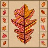 Reeks Autumn Patterned Oak Leaf en Kleine Eenvoudige Bladeren Royalty-vrije Stock Afbeelding