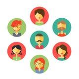 Reeks avatars illustratie, vlakke pictogrammen Karakters voor Web Stock Fotografie