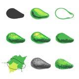 Reeks avocadopictogrammen en avocadoemblemen Royalty-vrije Stock Foto's
