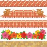 Aziatische rode tegels. stock illustratie