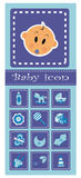Reeks babyelementen - blauw Royalty-vrije Stock Foto