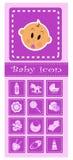 Reeks babyelementen - roze Royalty-vrije Stock Afbeelding